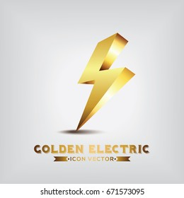 Golden Electric Icon Vector