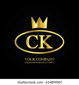 golden elegant ck initial letter with crown typography design logotype for brand and company identity. gradient gold color