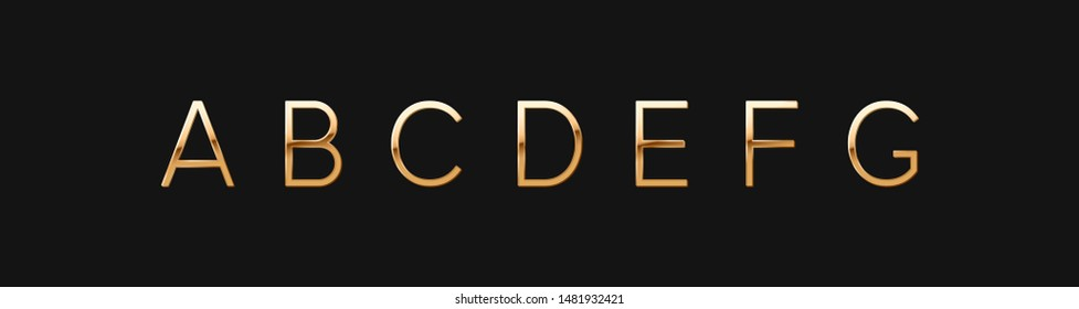 Golden elegant letter A, B, C, D, E, F, G. Chic Design sign isolated on black background. Gold Alphabet, font luxury. vector illustration