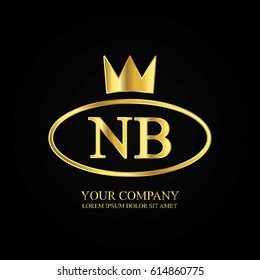 golden elegant nb initial letter with crown typography design logotype for brand and company identity. gradient gold color