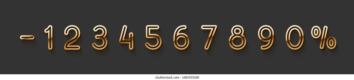 Golden elegant numbers 1, 2, 3, 4, 5, 6, 7, 8, 9, 0. Chic Design sign isolated on black background. Gold set of number, font luxury. vector illustration