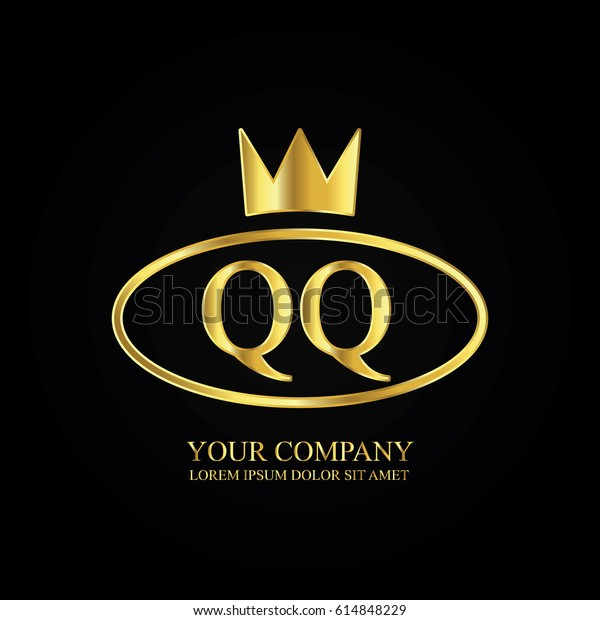 Golden Elegant Qq Initial Letter Crown Stock Vector Royalty Free 614848229