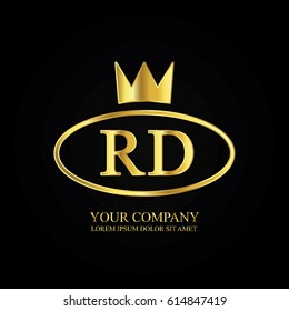 golden elegant rd initial letter with crown typography design logotype for brand and company identity. gradient gold color
