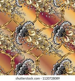 Golden element on beige, brown and black colors. Damask ornamental repeating background. Gold Wallpaper on texture background. Gold floral ornament in baroque style.