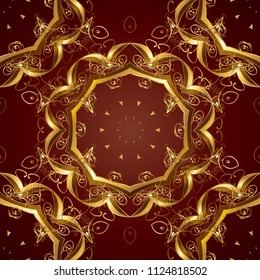 Golden element on brown and red colors. Luxury, royal and Victorian concept. Ornate vector decoration. Vintage baroque floral seamless pattern in gold over brown and red.
