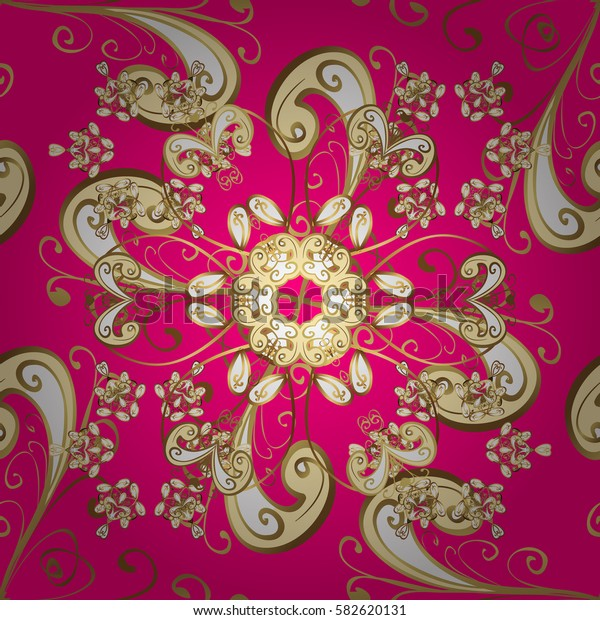 Golden element on magenta background. Vintage baroque floral seamless pattern in gold over magenta. Luxury, royal and Victorian concept. Ornate vector decoration.