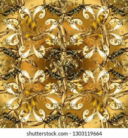 Golden element on yellow and brown colors. Damask seamless pattern repeating background. Golden floral ornament in baroque style. Antique golden repeatable wallpaper.