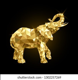 Golden elephant with raised trunk
