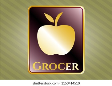 Golden emblem with apple icon and Grocer text inside