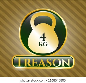 Golden emblem or badge with 4kg kettlebell icon and Treason text inside