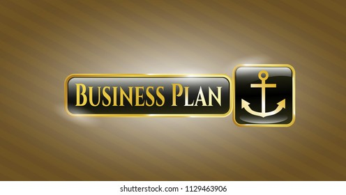 Golden emblem or badge with anchor icon and Business Plan text inside