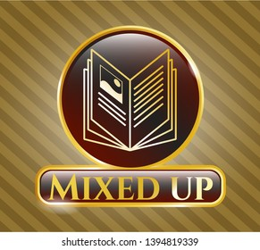 Golden emblem or badge with book icon and Mixed up text inside