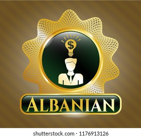Golden emblem or badge with business idea icon and Albanian text inside