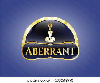 Golden emblem or badge with business idea icon and Aberrant text inside