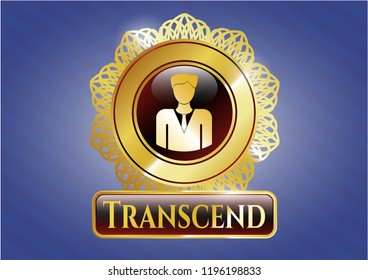 Golden emblem or badge with businessman icon and Transcend text inside