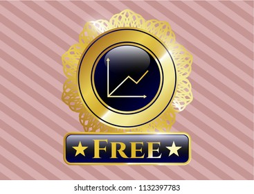 Golden emblem or badge with chart icon and Free text inside