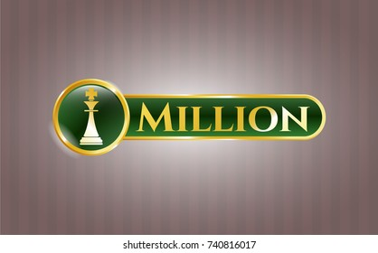 Golden emblem or badge with chess king icon and Million text inside