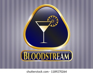 Golden emblem or badge with cocktail glass icon and Bloodstream text inside