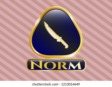 Golden emblem or badge with combat knife icon and Norm text inside