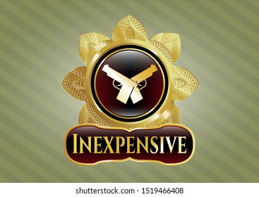 Golden emblem or badge with crossed pistols icon and Inexpensive text inside