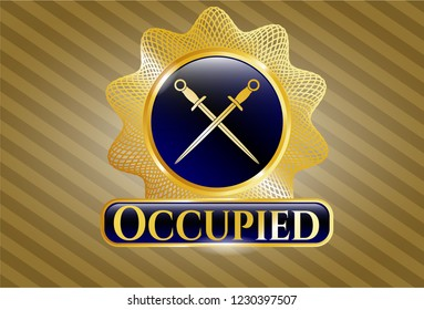 Golden emblem or badge with crossed swords icon and Occupied text inside