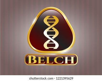 Golden emblem or badge with dna icon and Belch text inside