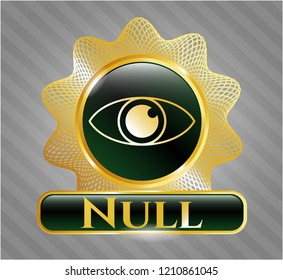 Golden emblem or badge with eye icon and Null text inside