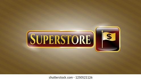 Golden emblem or badge with flag with money symbol inside icon and Superstore text inside
