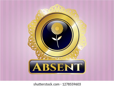 Golden emblem or badge with flower icon and Absent text inside