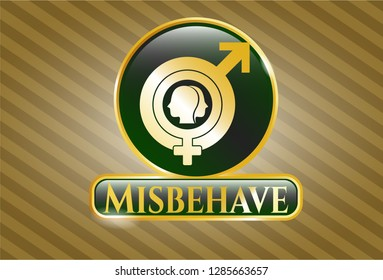 Golden emblem or badge with gender dysphoria icon and Misbehave text inside