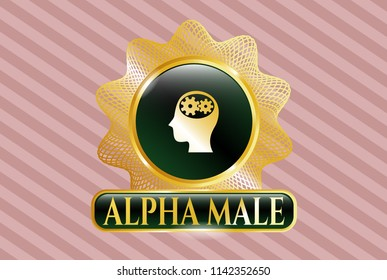 Golden emblem or badge with head with gears inside icon and Alpha Male text inside