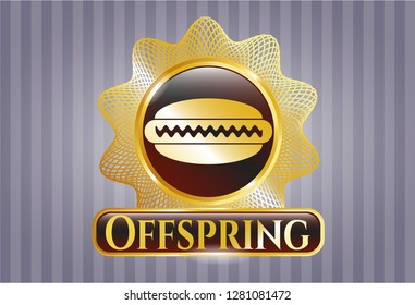 Golden emblem or badge with hot dog icon and Offspring text inside