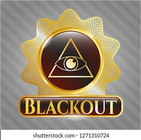 Golden emblem or badge with illuminati pyramid icon and Blackout text inside