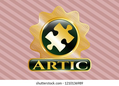 Golden emblem or badge with jigsaw puzzle piece icon and Artic text inside