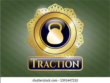 Golden emblem or badge with kettlebell icon and Traction text inside