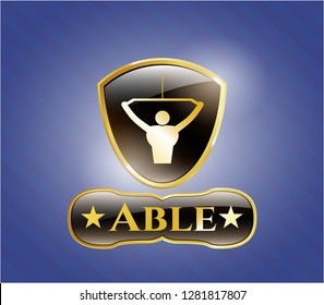 Golden emblem or badge with lat pull down, exercise icon and Able text inside