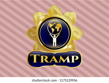 Golden emblem or badge with man lifting world icon and Tramp text inside
