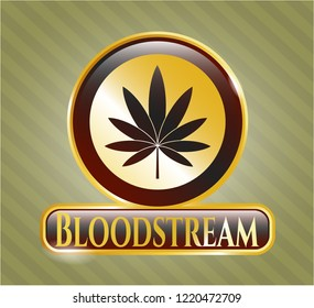 Golden emblem or badge with marijuana leaf icon and Bloodstream text inside