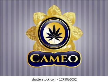 Golden emblem or badge with marijuana leaf icon and Cameo text inside