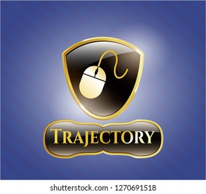 Golden emblem or badge with mouse icon and Trajectory text inside