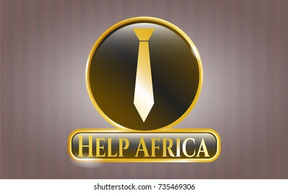 Golden emblem or badge with necktie icon and Help Africa text inside