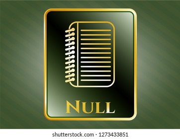 Golden emblem or badge with note book icon and Null text inside