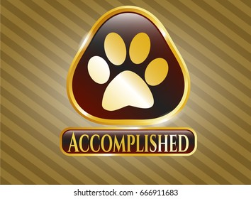 Golden emblem or badge with Paw icon and Accomplished text inside