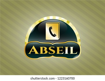 Golden emblem or badge with phonebook icon and Abseil text inside