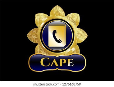 Golden emblem or badge with phonebook icon and Cape text inside