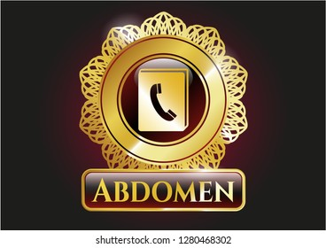 Golden emblem or badge with phonebook icon and Abdomen text inside