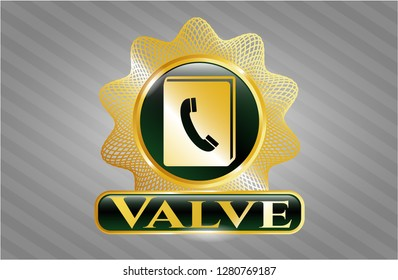 Golden emblem or badge with phonebook icon and Valve text inside