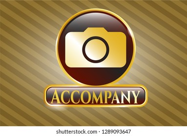 Golden emblem or badge with photo camera icon and Accompany text inside