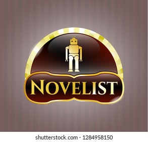 Golden emblem or badge with robot icon and Novelist text inside