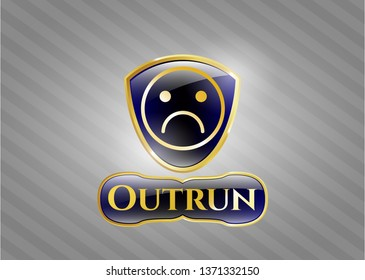 Golden emblem or badge with sad face icon and Outrun text inside